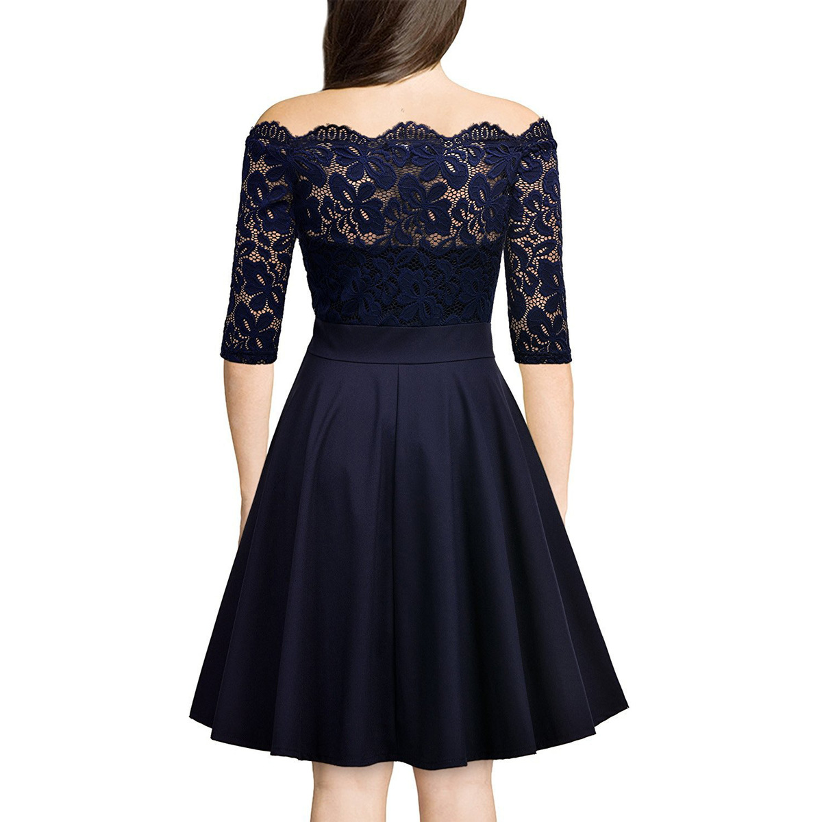 Vadim Europe Station High-quality Temperament Grace Competitive Products Sexy Lace One The Word Strapless Will Pendulum Dress