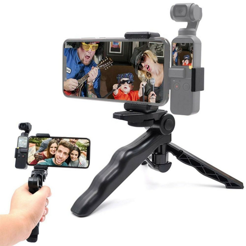 Universal Foldable Tripod Phone <font><b>Holder</b></font> Stand Clip Hand-held Stabilizer for DJI OSMO Pocket SamSung Xiaomi HuaWei <font><b>Smartphone</b></font> image