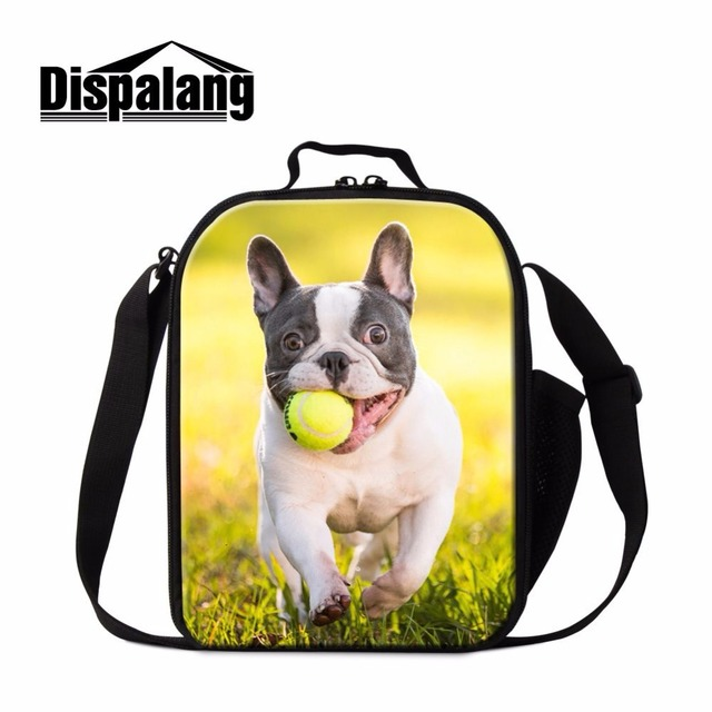 Dispalang Stylish Bulldog Prints Lunch Bags Tote with Zipper Ladies Lunchbox Picnic Bags For Children Insulated Food Container