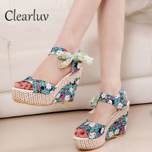 woman  sandals Flower Peep Toe Wedges Lace up Thick Bottom Flatform Shoes Sandals zapatos mujer tacon sexy Gladiator sandals contract color lace up wedges design sandals