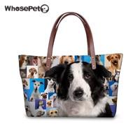 WHOSEPET Women Handbags Cute Lovely Doggies 3D Printing Tote Bags Nylon in Women Shoulder Bags High Quality Handbags for Girls