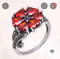 925 sterling silver garnet mosaic multi turn wide version women's fashion ring