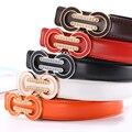 2016 New Fashion Candy 5 Color Metal Buckle Women's Leather Thin Belt Waistband Female Straps Ladies Cummerbund Free Shipping