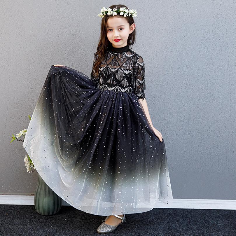 2019 New Children Teens Evening Dress Holiday Party Birthday Princess Dress Kids Girls Piano Pageant Dress Modis Vestidos Y1626