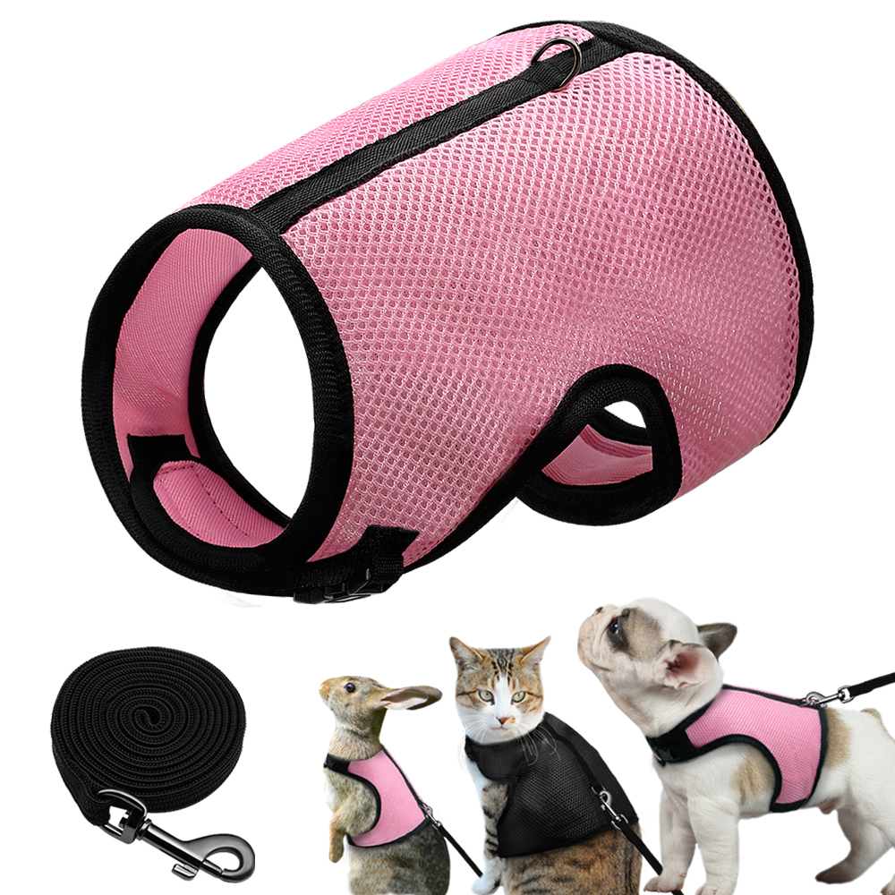 mesh-dog-harness-vest-puppy-kitten-rabbit-chihuahua-harness-with-elastic-lead-leash-for-small-dogs-cats-rabbits-bunny-pink