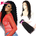 360 Lace Frontal with Bundle 7A Brazilian Hair Weave Bundles Deep Wave Curly Hair with 360 ace Frontal Closure with Baby Hair
