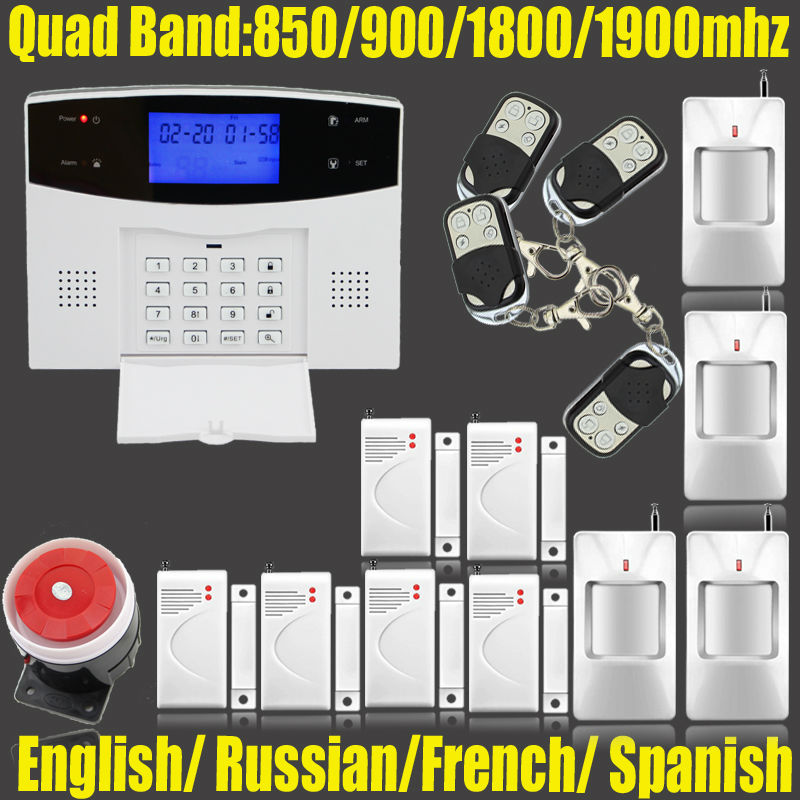 ФОТО 433MHZ dual-network GSM PSTN SMS House Burglar Security Alarm System fire/smoke Detector+door/window Sensor Kit Remote Control