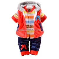 Newborn baby Girls christmas snowsuit parkas vestcoat+shirt+pants clothing set winter coat children thicken infant clothes set