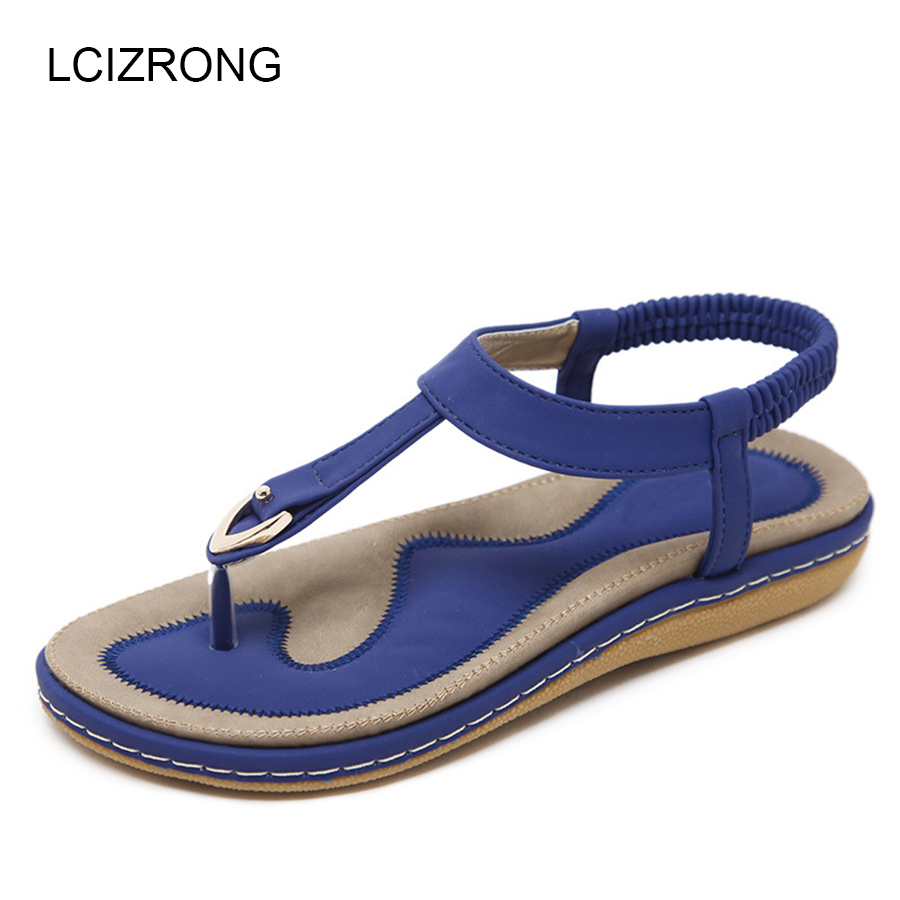 LCIZRONG Summer Women Sandals Beach Bohemia Leather Sandals Non-slip Woman Flip Flops Metal Decoration Shoes Plus Size plardin 2017 bohemia summer casual women wedges platform woman ladies metal decoration flip flops genuine leather shoes