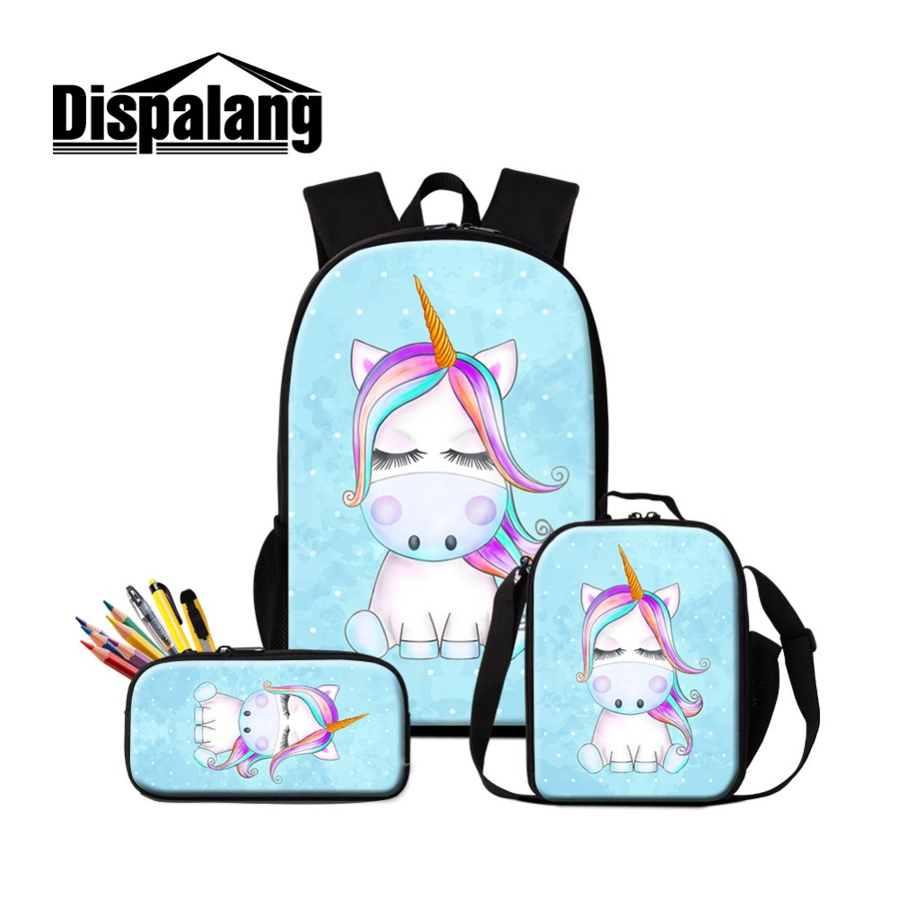 Dispalang Cute School Backpack Unicorn Printed Lunchbag for Girls Children Stylish Cartoon Book bag Students Pencil Pouch Kids Dispalang Cute School Backpack Unicorn Printed Lunchbag for Girls Children Stylish Cartoon Book bag Students Pencil Pouch Kids