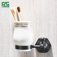 FLG Cup & Tumbler Holders Brass Bathroom Toothbrush Holder Black Single Ceramic Cups Wall Mount Luxury Bathroom Accessories luxury brush tumbler ceramic cup holder antique bronze single toothbrush holder wall mounted ceramic bathroom accessories