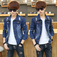 Denim Jacket Men High Quality Fashion Jeans Jackets Ripped Holes Slim Fit Vintage Mens Jacket And