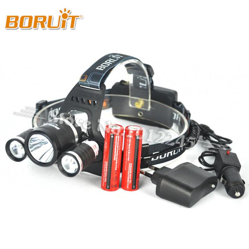 Boruit RJ-3001 8000 Lumen XM-L T6+2R5 LED Rechargeable Head Torch 4Mode Headlamp Flashlight Head Light+2x 18650 Battery &Charger original boruit 3x cree xm l xml t6 led 5000luems rechargeable headlamp head light 2x 18650 battery charger car charger