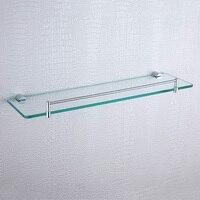 Bathroom Shelf 304 Stainless Steel Copper Wall Mounted Chrome Single Tier Glass Shower Organizer Shampoo Bathroom Shelves Holder