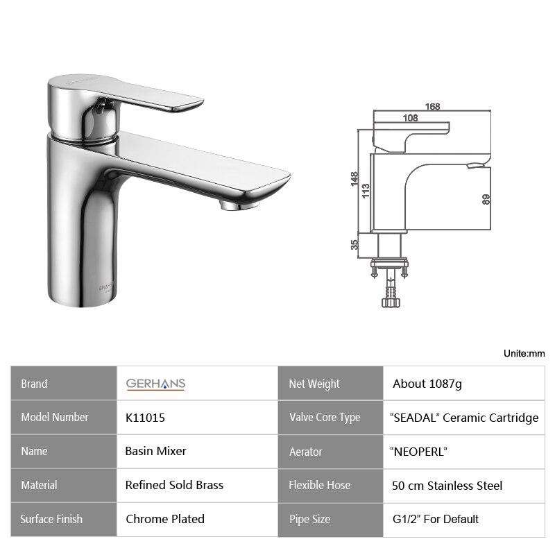 GERHANS Irismart robinet de salle de bain moderne unique de haute qualité robinet de lavabo moderne évier mélangeur grue, Chrome K11015 - 2