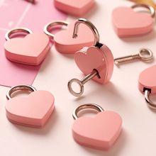 Forma de corazón Mini candado Vintage cerradura de viejo estilo antiguo Rosa romántico diario candados llave cerradura con llave