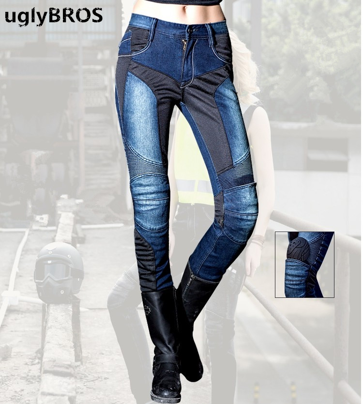 Summer mesh breathable ladies jeans Uglybros Juke blue Jeans motorcycle protective pants  detachable protector racing pants fashion casual straight uglybros incision ubs10 jeans motorcycle pants male moto pants protection for motorcycle pants