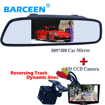 """Wire car rearview camera bring  Dynamic track line lens auto car display  rear mirror 4.3"""" 800*480 for different cars"""