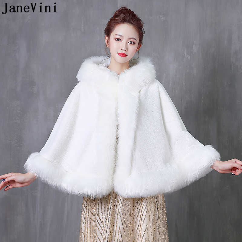 JaneVini White Winter Wedding Bridal Faux Fur Wraps Warm Shawls Women Coat for Evening Party Cape Cloaks Bolero Fourrure Mariage