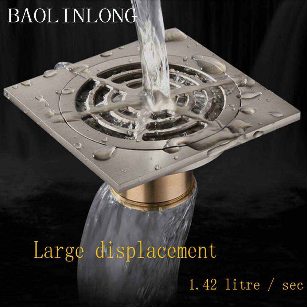 BAOLINLONG Brass Floor Drain Exquisite Washing machine floor drain Panel Multiple beautiful Super Drainage Multiple uses in Drains from Home Improvement