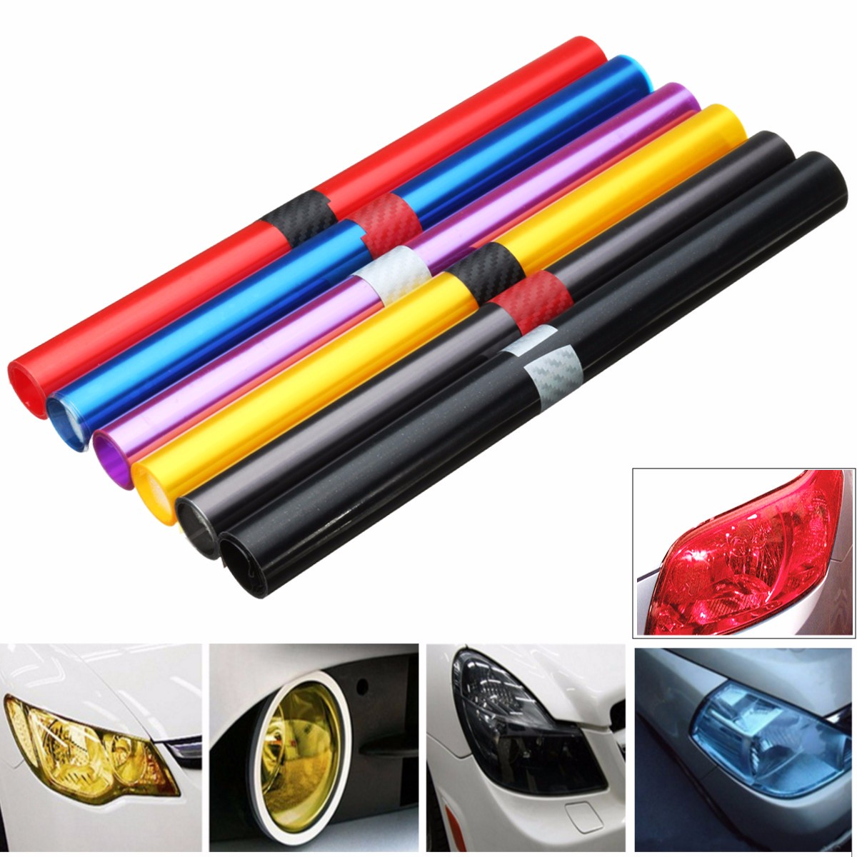 30 X 100cm PVC Car Foil Film Auto Vehicle Tail Light Headlight Wrap Sticker Decal Purple Blue Red Yellow Black Brown