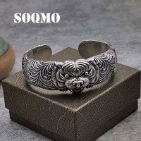 SOQMO модный браслет регулируемый тигр браслет на голову 100% Серебро 925 пробы в стиле панк ювелирные украшения Лаки Храбрые войска Открытый бра