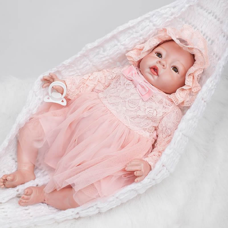 Brown Eyes 20 Inch Realistic Reborn Girl Baby Doll Cloth Body Silicone Mohair Princess Babies Toy With Dress Kids Birthday Gift