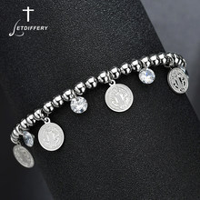 Letdiffery Religieuze CZ Steen Benedictus Hanger Armband Rvs Verstelbare Kralen Streng Armband Voor Vrouwen Gift
