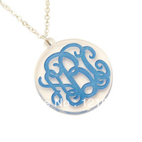 Colorful Personal Acrylic Monogram Name Necklace Changeable Jewelry