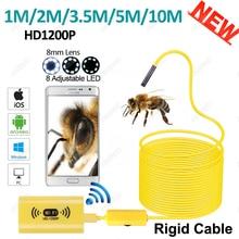 HD 1200P Wireless WiFi Endoscope Mini Camera Waterproof Semi Rigid Inspection Camera 8mm Lens 8LED Borescope