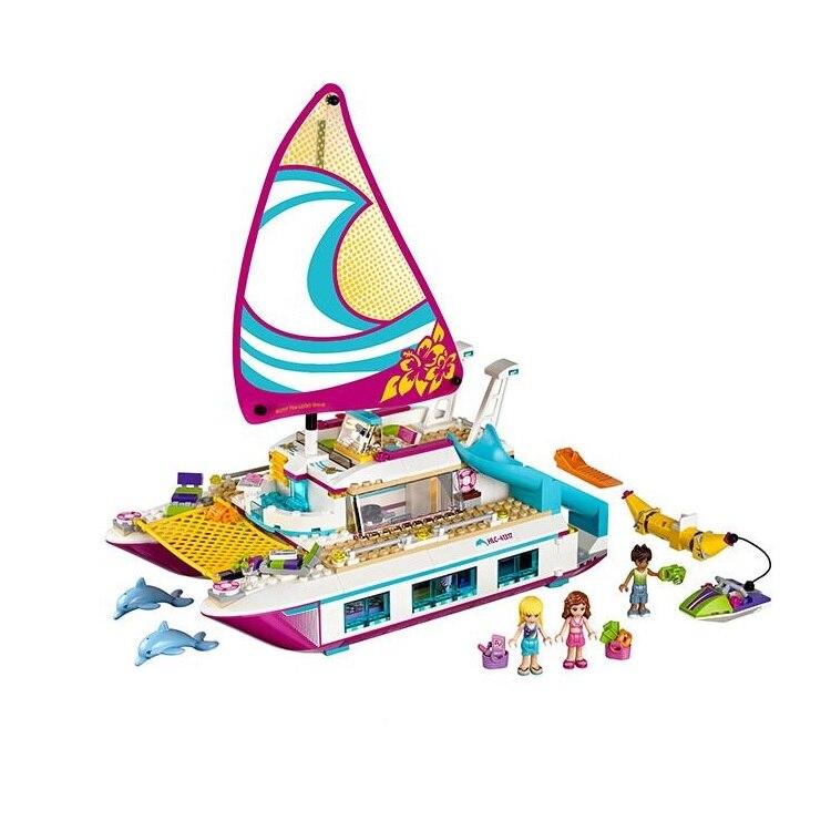 Lepin 01038 Amici Serie Della Ragazza 651 pz Blocchi di Costruzione giocattoli Sole Catamarano bambini Mattoni giocattolo ragazza regali Legoe Compatibile 41317