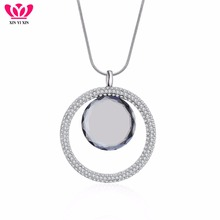 Big Round Glass Full Crystal Circles Pendant Necklace Women Long Chain Silver Sweater Collier Fashion Jewelry 2018 New