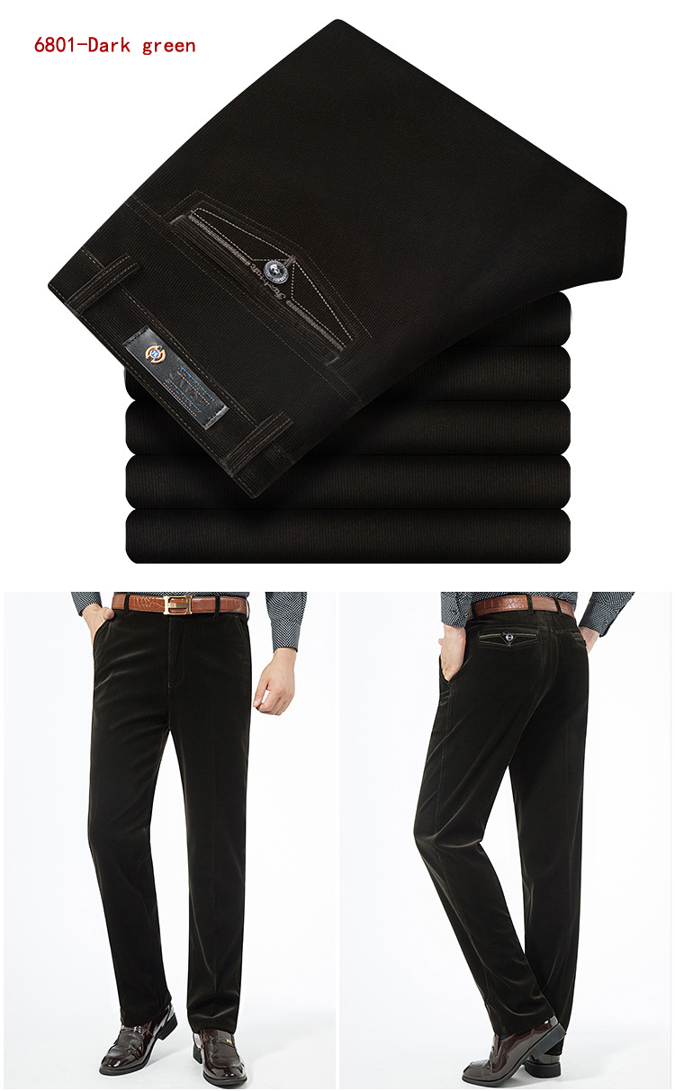 Autumn Spring corduroy trousers men's leisure pants high waist straight middle-aged wash and wear business casual corduroy pants
