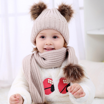 2017 Pom Children Winter Hat For Girls Hat Knitted Beanies Cap Brand New Thick Baby Cap Baby Girl Winter Warm Hat conjuntos casuales para niñas