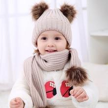 2017 Pom Children Winter Hat For Girls Hat Knitted Beanies Cap Brand New Thick Baby Cap Baby Girl Winter Warm Hat
