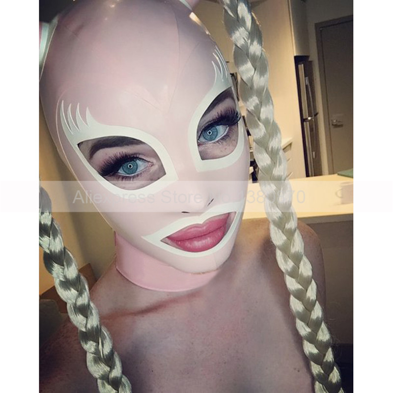 Latex Mask Hoods Rubber Cat Women Party Hood With Tube Pigtails Back Zip Handmade S-LM224