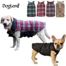 2017 Waterproof Reversible Dog Jacket Designer Warm Plaid Winter Dog Coats Pet Clothes Elastic Small to Large Dog Clothes Winter(China)