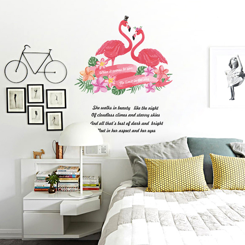 Nordic Pink Flamingo Wall Sticker Modern Living Room ...