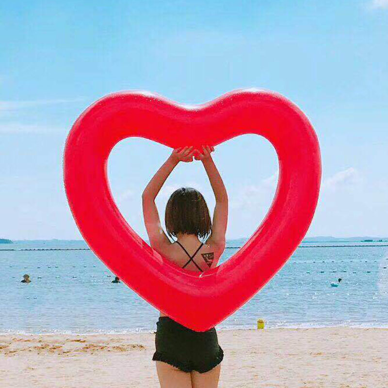 Buy Cheap Inflatable Sweet Heart Swimming Rings Laps Giant Pool Party Lifebuoy Float Mattress Swimming Circle