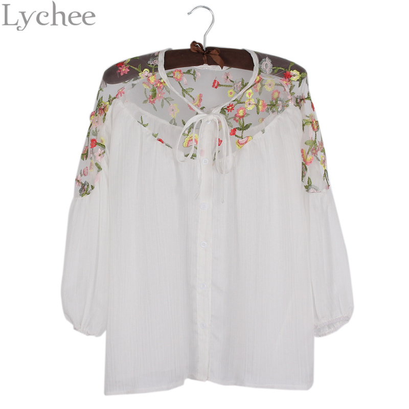 Lychee Fashion Lychee Spring Autumn Women Blouse Flower Embroidery Mesh Patchwork Lantern Sleeve Chiffon Shirt Tops