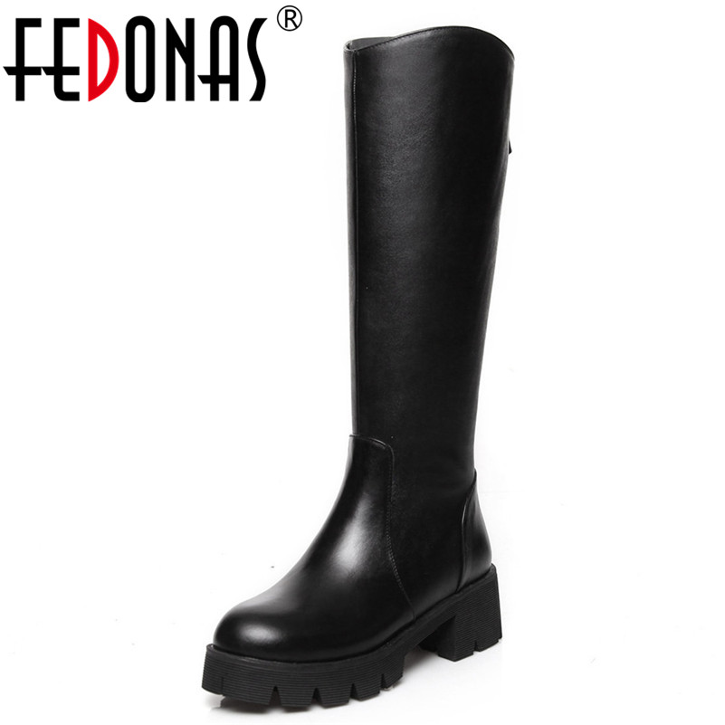 FEDONAS New 2019 Fashion Women High Heels Knee High Boots Round Toe Autumn Winter Long Motorcycle Boots Party Shoes Woman FEDONAS New 2019 Fashion Women High Heels Knee High Boots Round Toe Autumn Winter Long Motorcycle Boots Party Shoes Woman