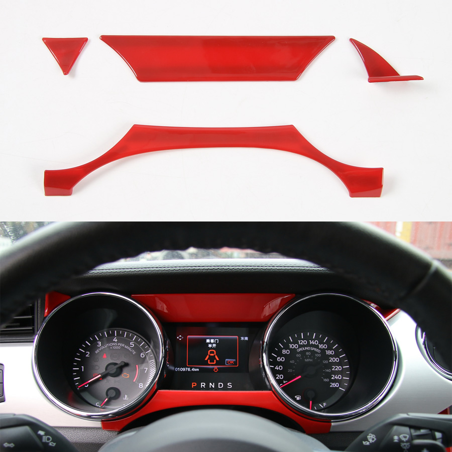 4Pcs set Car Dashboard Instrument Decoration Strip Trim Styling Cover For Ford Mustang 2015 2016 ABS