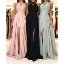 Verngo High neck Long prom dress with lace appliques Beading Slit side Candy color Custom made Prom gown