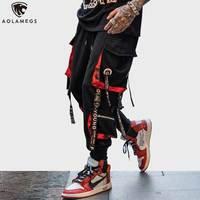 Aolamegs Pants Men Block Hit Color Pocket Track Pants Male Fashion Trousers Elastic Waist Hip Hop Joggers Sweatpants Streetwear