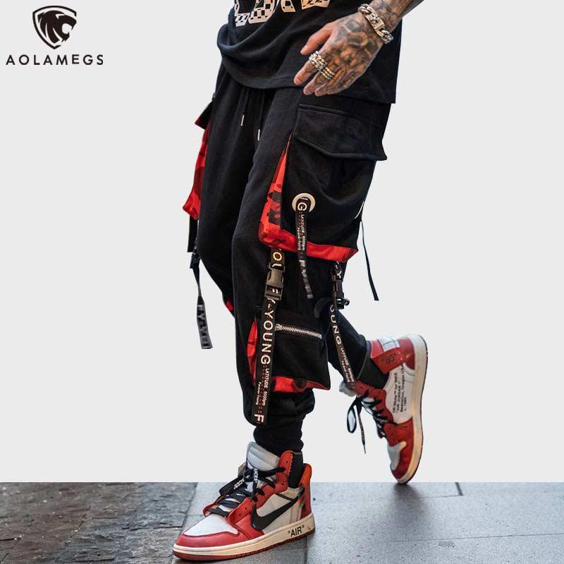 Calças dos Homens Aolamegs Bloco Bolso Faixa Calças Masculinas Moda Cintura Elástica Hip Hop Joggers Sweatpants Streetwear Hit Cor