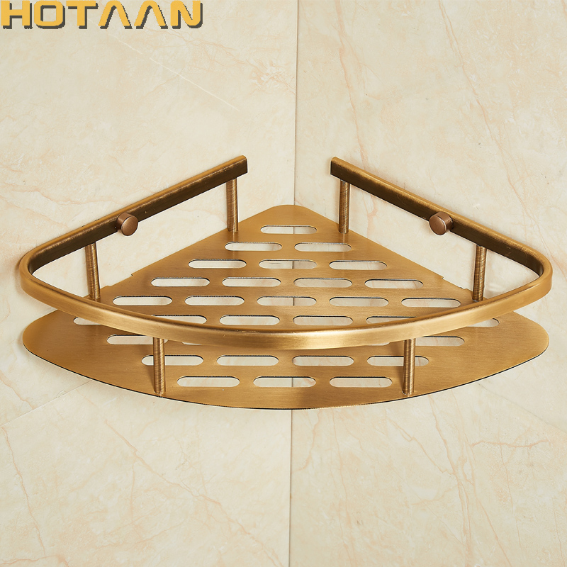 Free Shipping Wall Mounted Antique finish aluminum Bathroom Shower shampoo Shelf Basket Holder Fashion single Layer YT-<font><b>7018</b></font>-<font><b>B</b></font> image