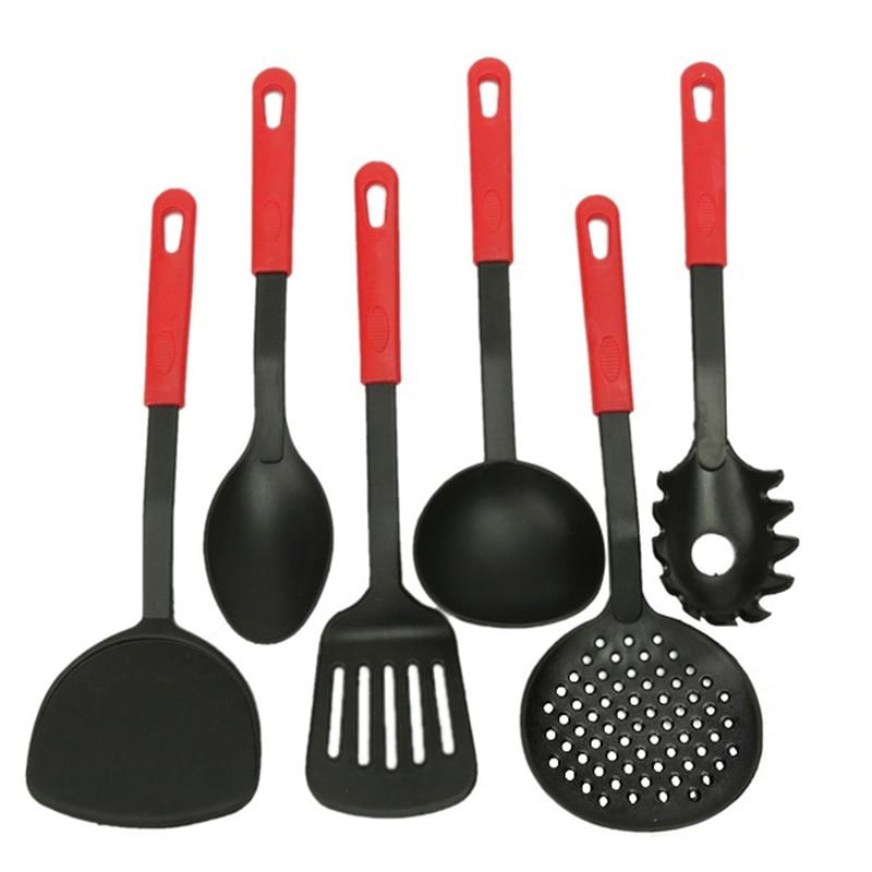 Новый 6 шт./компл. Пособия по кулинарии Инструменты Посуда нейлон черный Кухня набор инструментов-ложка Посуда
