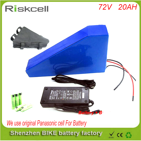 Free customs taxes Triangle style Lithium Battery 72V 20Ah for 72v  3500w ebike conversion kits+charger + bag For Panasonic cell free customs taxes factory36 volt battery pack with charger and 20a bms for 36v 10ah lithium battery