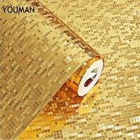 Wallpapers Youman 3D Waterproof Gold Foil Mosaic Wallpaper Golden Silver KTV Bar Counter Pillar Lattice Gold Foil Wallpaper