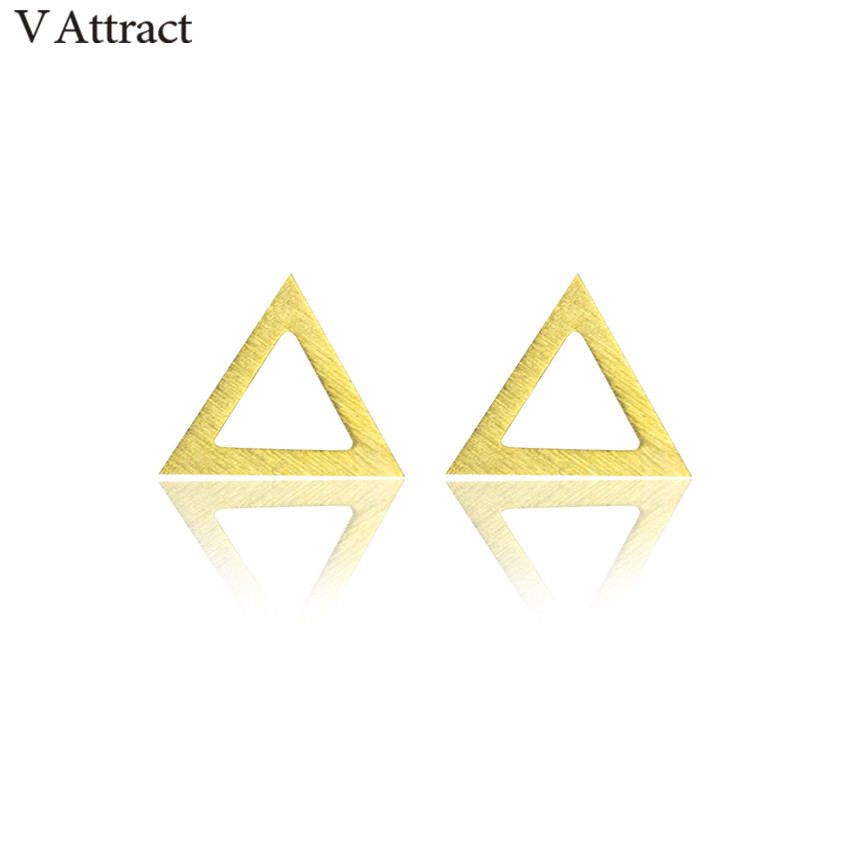 V Attract Minimali Geoment Vintage Triangle Stud Earrings For Women Men Gold Silver Stainless Steel Bohemian Jewelry 2018